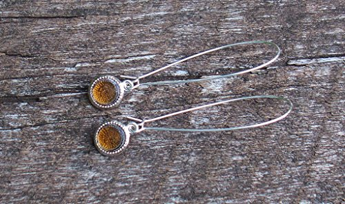 Recycled Vintage Amber Clorox Bottle Long Drop Color Dot Earrings