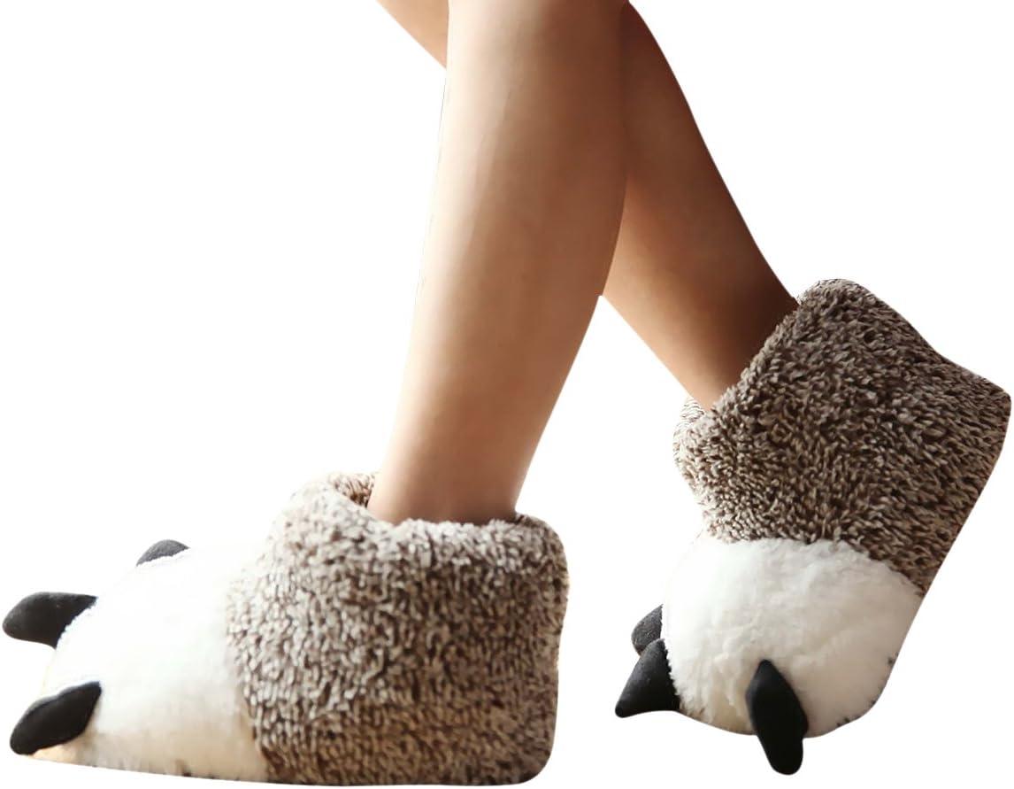ZUMUii Butterme Unisex Polar Bear Paw Slippers Botas de Felpa de Invierno C/álido Inicio Zapatillas Furry Animal Paw House Zapatillas Gris,2XL