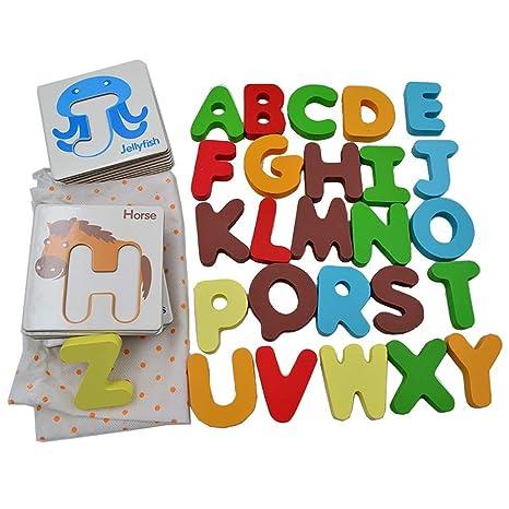 Lindo juguete educativo Alfabeto Tarjetas de rompecabezas ...