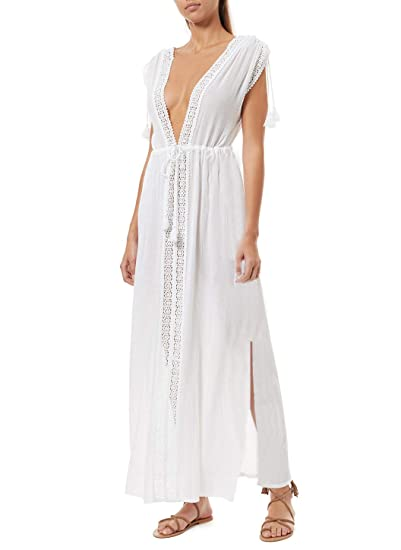 7a7688182b NFASHIONSO Women's Cotton Kimono Cardigan Lace Long Maxi Beach Dress Bikini  Covers Up at Amazon Women's Clothing store: