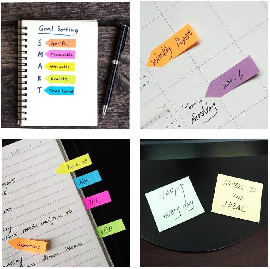 400 Stark Sticking Notizbl/öcke mit zwei rechteckigen Notes Langtor Sticky Notes Helle bunte Mini Stickies und acht Index Pfeil Tag Managers 2000 Seite Stichworte