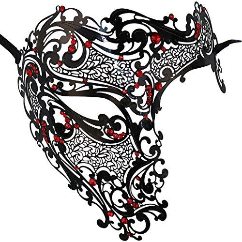 Thmyo Glossy Metal Filigree Phantom Half Eye Mask For Masquerade Mardi Gras Mask (Black+Red)]()