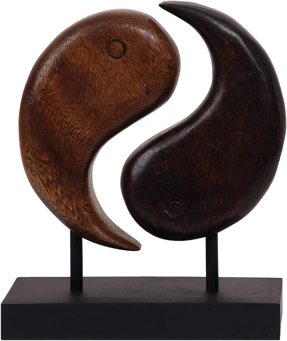 Decozen Handmade Wooden Ying and Yang Decor Sculpture Creating Peace, Harmony and Balance in Living Spaces Ideal for Living Room, Family Room, Guest Room,Study and Dorm Room