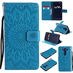 V10 Case, V10 Cover, Dfly-US Premium Soft PU Leather Embossed Mandala Design with Kickstand Function Card Slot Holder Slim Flip Protective Wallet Cover for LG V10, Blue