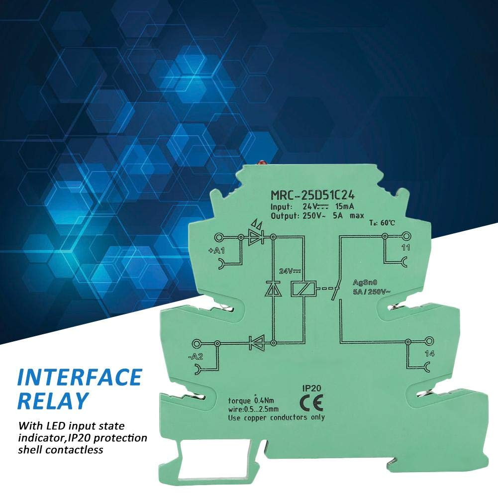 MRC-25D51C24 PLC Electromagnetic Contact Interface Relay Module 5A Normally Open Input 24VDC Output 250V~ 5A PLC Interface Relay