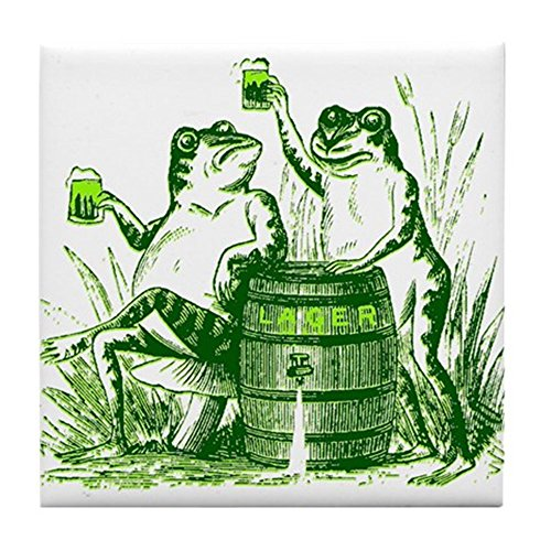 CafePress - Drunk Frogs St Patricks Day Tile Coaster - Tile Coaster, Drink Coaster, Small Trivet