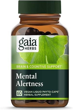 Gaia Herbs Mental Alertness Vegan Liquid Capsules, 60 Count - Memory and Focus Supplement, Enhance Mental Performance, Boost Brain Blood Flow