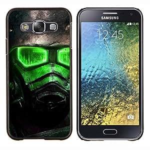 Qstar Arte & diseño plástico duro Fundas Cover Cubre Hard Case Cover para Samsung Galaxy E5 E500 (Resplandor Verde Fall0Ut Soldado)