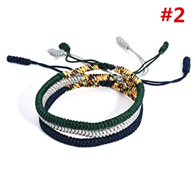 9e124807cc Image Unavailable. Image not available for. Color  Lucky Rope Bracelet  Tibetan Buddhist Hand Braided Knots Handmade ...