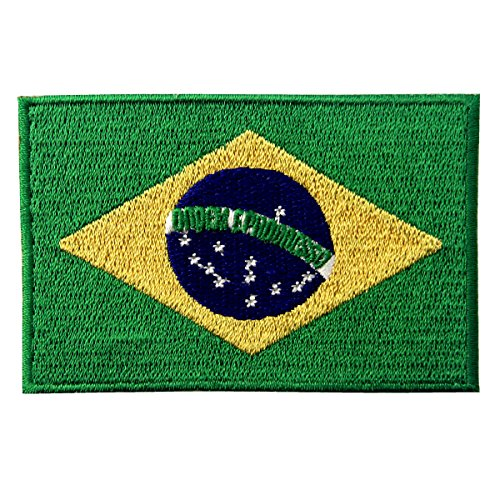 Brazil Flag Embroidered Brazilian Brasil National Emblem Iron On Sew On (National Costume Brasil)
