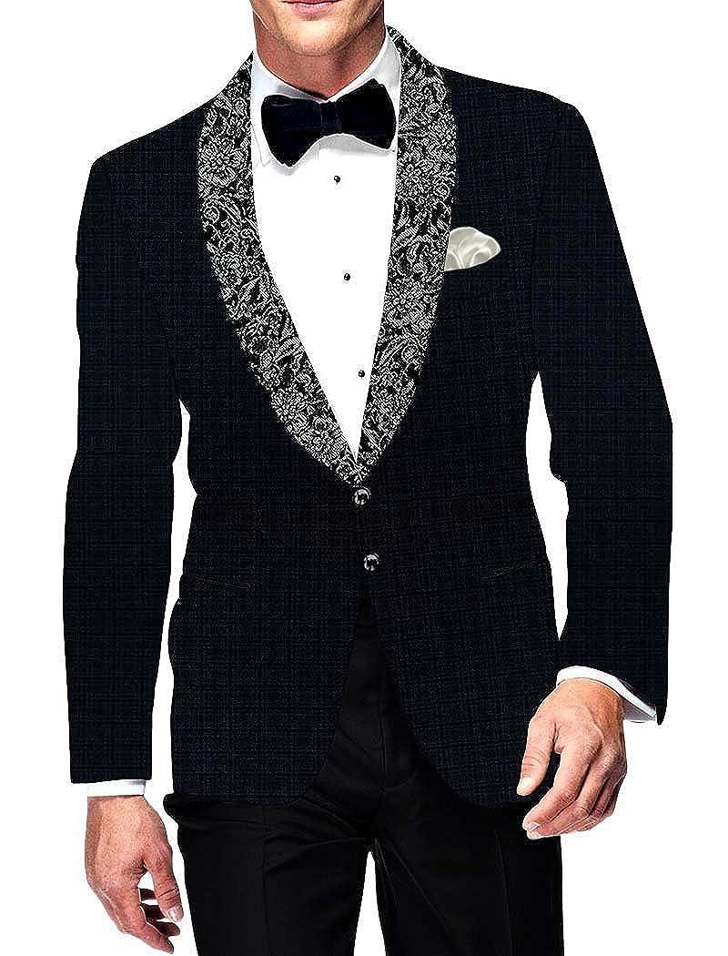 INMONARCH Mens Slim fit Casual Dark Navy Blazer Sport Jacket Coat Checks Shawl Lapel SB15725