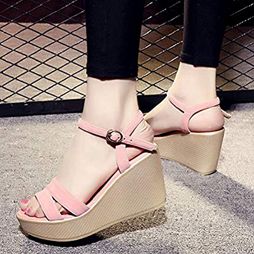 Buckle Toe Open Pink Platform Ankle on Casual T Heel Slip Strap Shoes Sandals JULY Dress Wedge High Slides Women's wUxq0A7