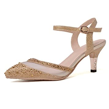 254626a633304 NVXIE Damen Diamante Spitz High Heels Sandalen Gold Silber Kleid ...