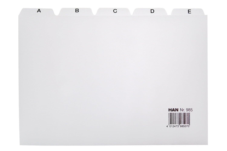 Han 985 - Separadores con índice alfabético (para ficheros, tamaño A5, polipropileno), color gris: Amazon.es: Oficina y papelería