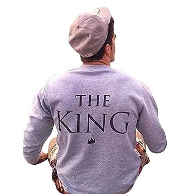 ZKOOO Couples The King His Queen Impression Sweat-Shirt Manches Longues Col  Rond Sweats Pullover pour Femmes Homme  Amazon.fr  Vêtements et accessoires 7a7026d51e37