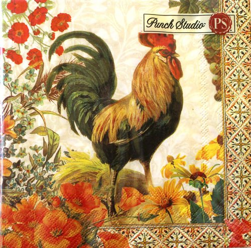 (40 Ct Punch Studio Boutique Rooster Garden Paper Luncheon Napkins Premium Qua.)