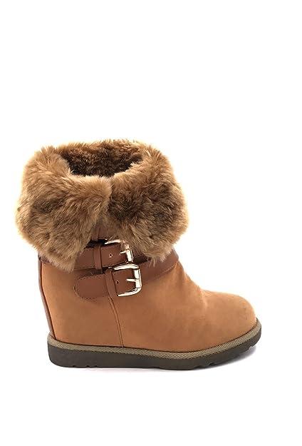 CHIC NANA . Chaussure femme botte compensée en effet daim, fourrure synthétique tour de cheville en couleur Noir 36