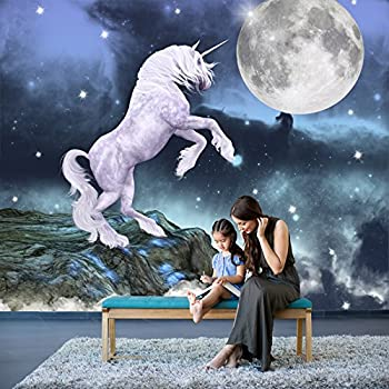 Unicorn Rearing At Full Moon Starry Sky Fantasy Wall Mural kids Photo Wallpaper available in 8 Sizes Gigantic Digital