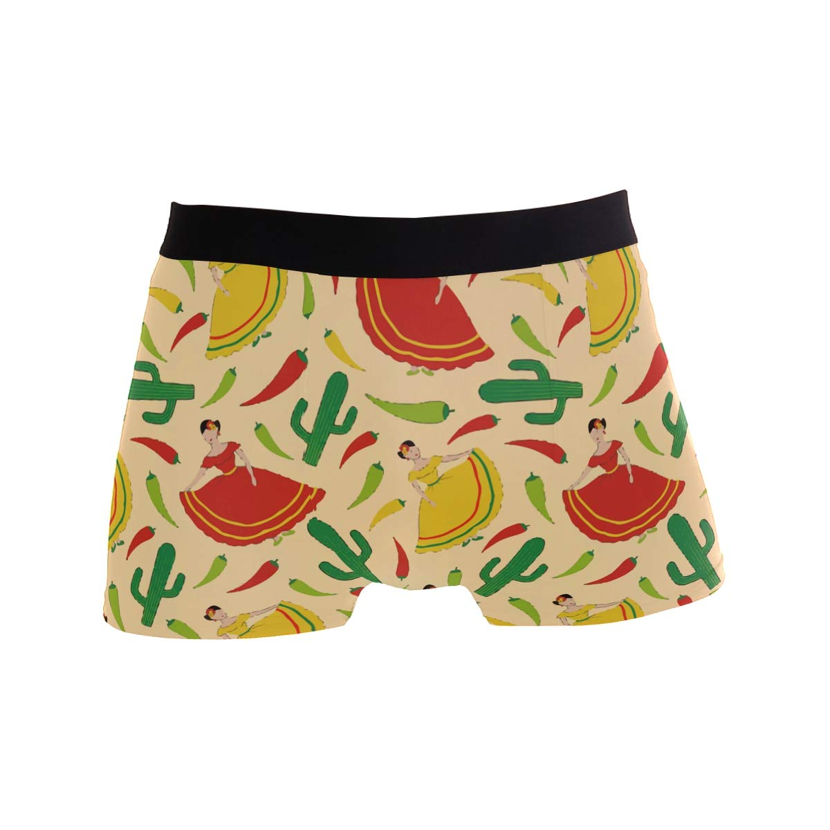 Charlley Lee Mens Soft Breathable Yellow Mexican Chili and Cactus Underwear Boxer Briefs