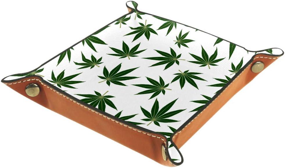 FCZ - Bandeja de Piel con diseño de Hojas de Marihuana y Cannabis Verde para mesita de Noche, Organizador de Escritorio, Caja de Almacenamiento para Joyas, Llaves, Monedas, Dulces