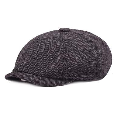 f2eba4187 Leoie Men Retro Fashion Cotton Cap Simple All-Match Beret Flat Cap ...