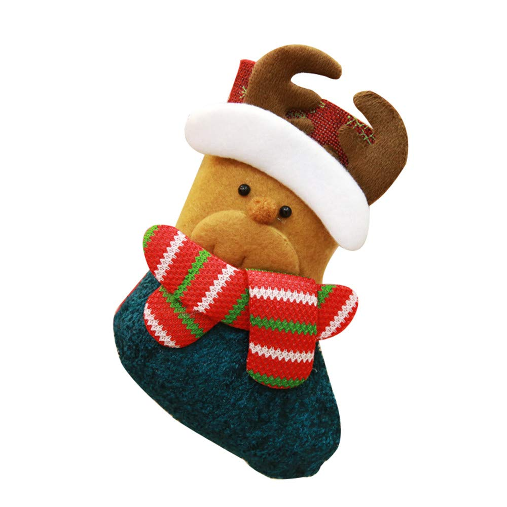 Christmas Stocking Hanging Decoration, Santa Claus Snowman Stocking Gift Candy Socks Gift Stocking Bag Holiday Home Party (Brown)