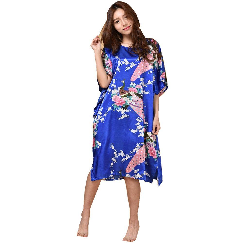 GL&G Animal pattern lady silk bathrobe thin section pajamas printing single skirt loose large yards home service comfortable blue bathrobes,blue,One size