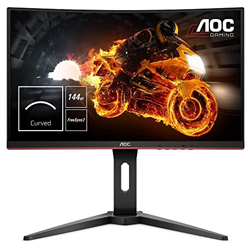 AOC C24G1 Monitor Gaming Curvo de 24 con Pantalla Full HD e Sports VA 1ms AMD FreeSync 144Hz Sin Marco Ajustable en altura y FlickerFree Color Negro Rojo