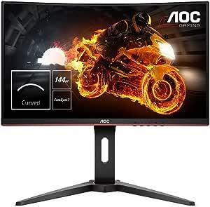 "AOC C24G1 - Monitor gaming curvo sin marcos de 24"" Full HD e-Sports (1920x1080, VA, 1 ms, 144 Hz, 1500R, AMD FreeSync, Ajustable en altura y FlickerFree), Color Negro/Rojo"