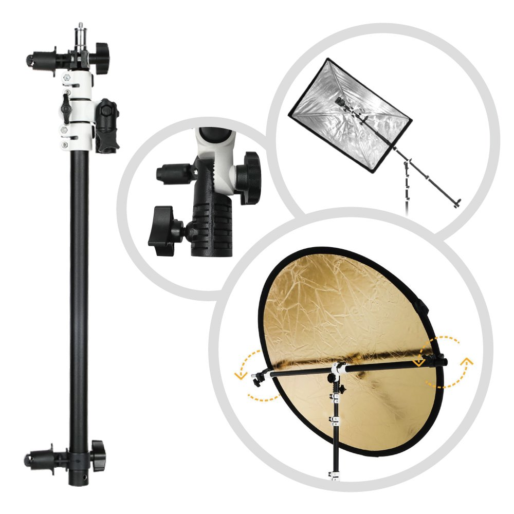 Fotoconic Multi Functional Reflector Holder, Boom Arm, Background Crossbar (18.5''-49''/47-125cm) with Solid Locking Metal Swivel Head Grip by fotoconic