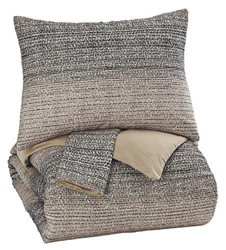 Ashley Furniture Queen Bedding - Ashley Furniture Signature Design - Arturo Queen Duvet Cover Set - Includes Duvet & 2 Pillow Shams - Cotton - Natural/Charcoal