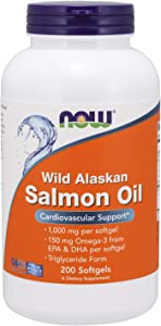 NOW Supplements, Wild Alaskan Salmon Oil, 150mg Omega 3 From EPA and DHA, 200-Softgels