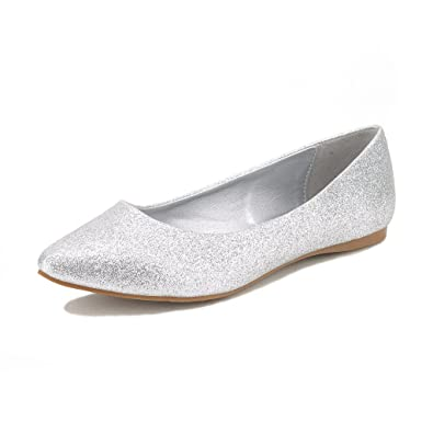 DREAM PAIRS SOLE CLASSIC Women's Casual Pointed Toe Ballet Comfort Soft  Slip On Flats Shoes SILVER