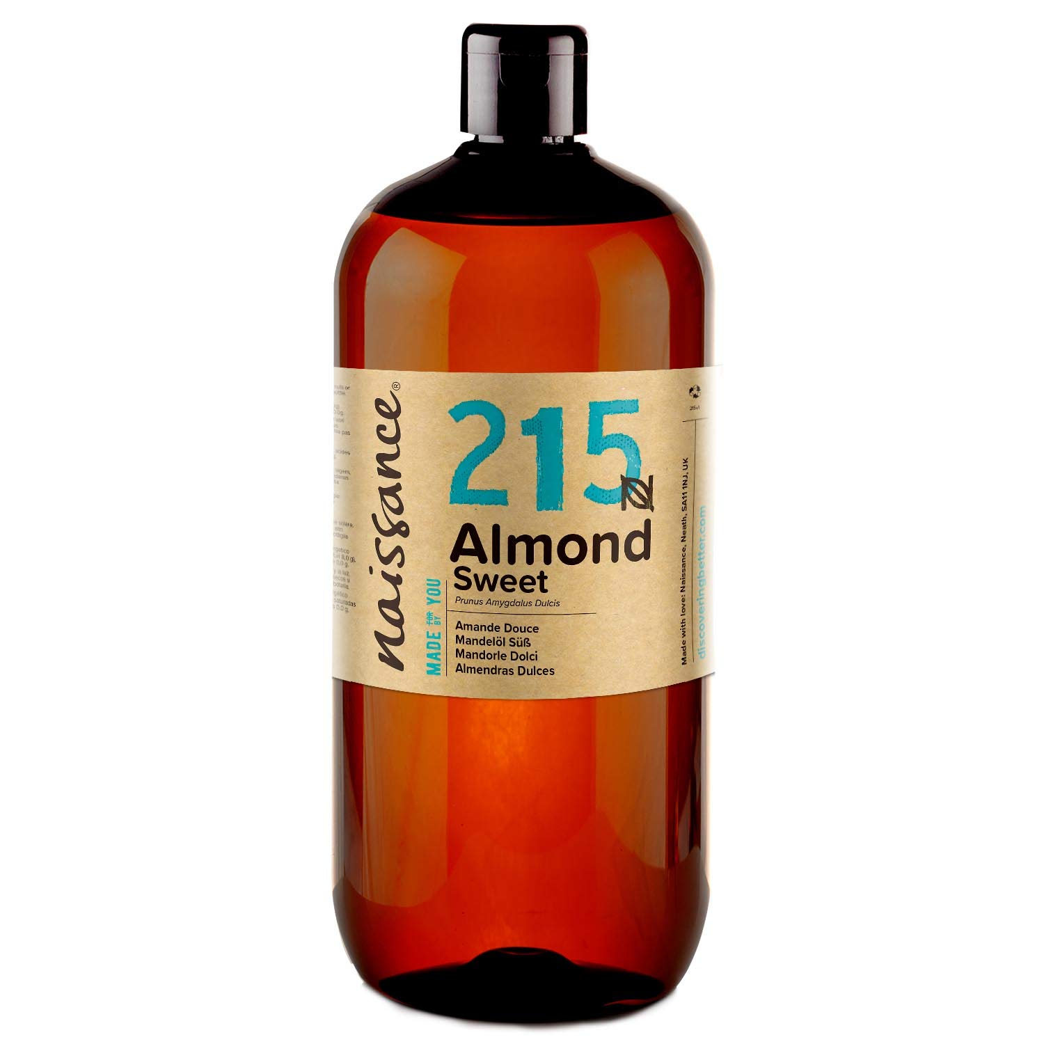 Naissance Sweet Almond Oil 32 fl oz - Pure & Natural, Vegan, Non GMO, Hexane Free, Cruelty Free - Ideal for Haircare and Skincare, Aromatherapy & Massage