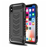 iPhone X Case,AGRIGLE [Linear Marker] 2 in 1 Double Layer Shock Absorption Defender Hybrid Protection Case Cover for iPhone X/iPhone 10 (Black)