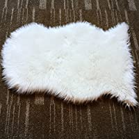 MINGZE Soft Faux Fur Sheepskin Area Rug, Fur Chair Cover Seat Pad Throw Rug, Childrens Rug Shaggy Floor Cushion Living room, Bedroom Bathroom, Home Décor Accent White 20x28 inches