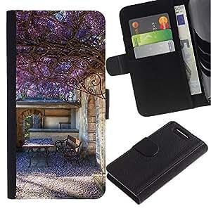 Stuss Case / Funda Carcasa PU de Cuero - Verano Edificio p¨²rpura - Sony Xperia Z3 Compact