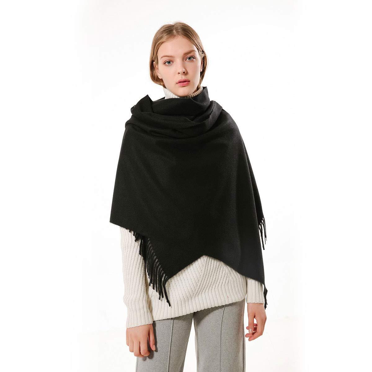 Women Soft Pashmina Wraps Shawls Stole Scarf - Large Size 78''x 28'' (Black)