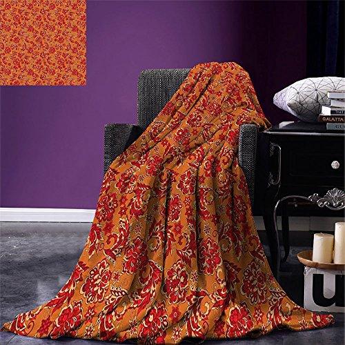 - smallbeefly Batik Digital Printing Blanket Nostalgic Western European Medieval Renaissance Inspired Eastern Bohemian Pattern Summer Quilt Comforter Red Orange