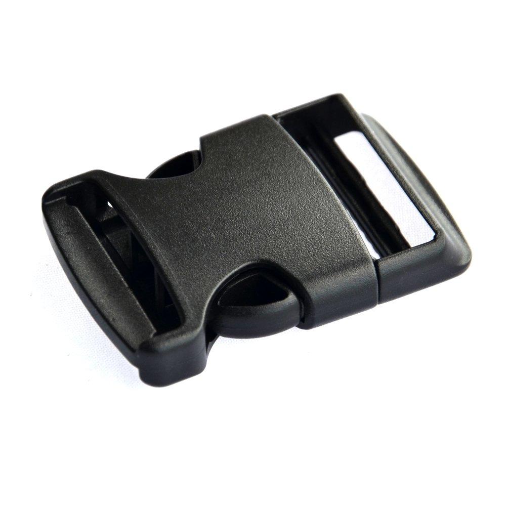 10 x 25mm Black Plastic Delrin 3 Bar Slides Buckles Webbing Adjuster for Bags Cl