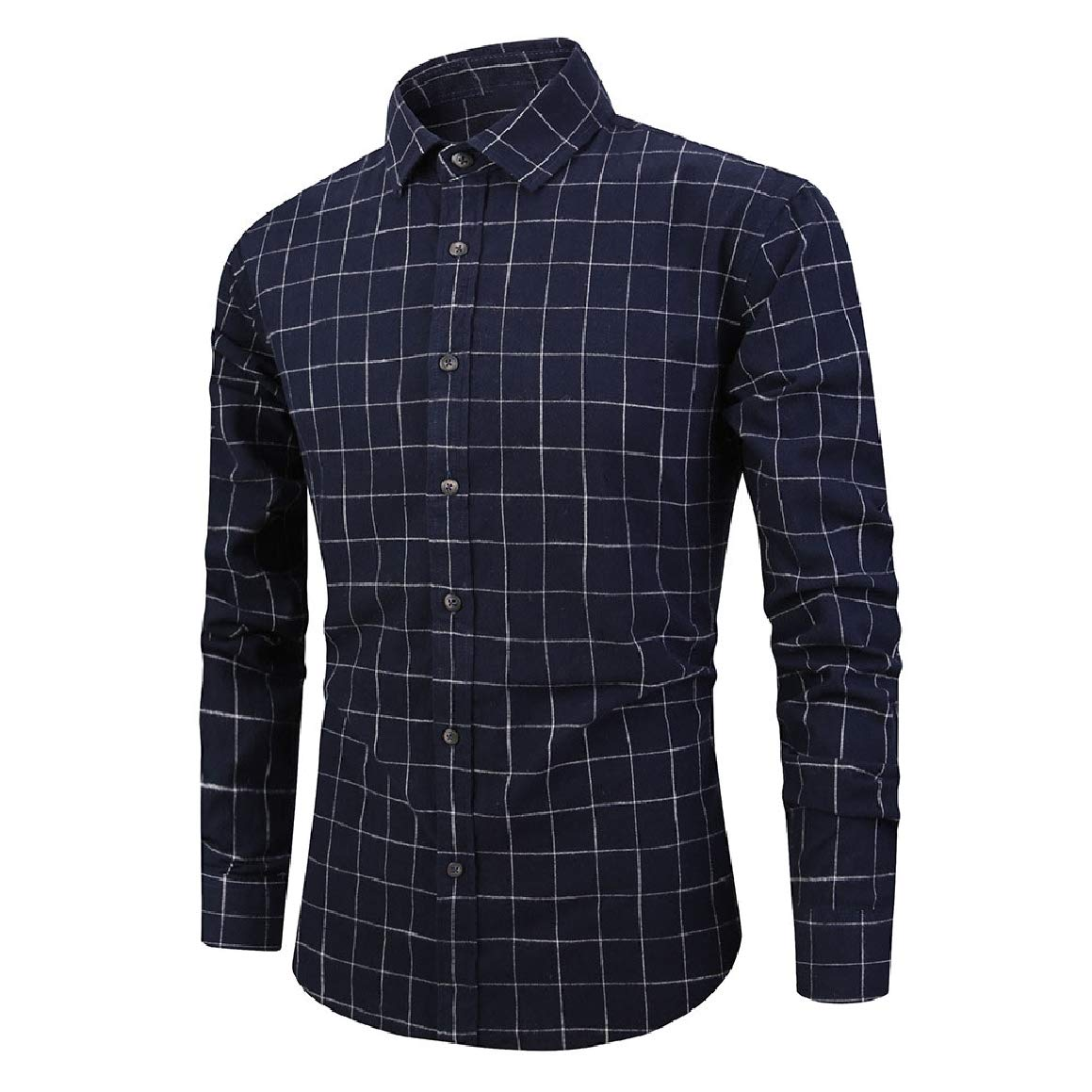 Abetteric Mens Plus-Size Long-Sleeve Plaid Standard-fit Casual Washed Western Shirt