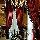 Luxury Curtain for Living Room Blackout Velvet 2 Panels Curtains Set Luxury Tassel Bedroom Curtains (Burgundy, (100W×96L)×2)