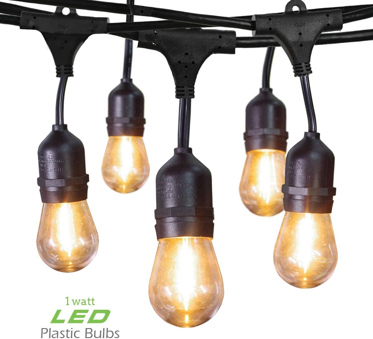 Jslinter Outdoor String Lights 48 Ft UL Listed Commercial Grade Waterproof IP65 Hanging Light with Weatherproof 1 Watt S14 LED Edison Bulbs, Create Party for Patio, Backyard, Porch, Yard, Bistro