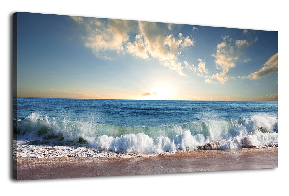 """Canvas Wall Art Beach Sunset Waves Coast Nature Pictures Modern Artwork Blue Ocean Contemporary Canvas Art Giclee Prints Summer Season Painting Framed Ready to Hang for Home Decoration 20"""" x 40"""""""