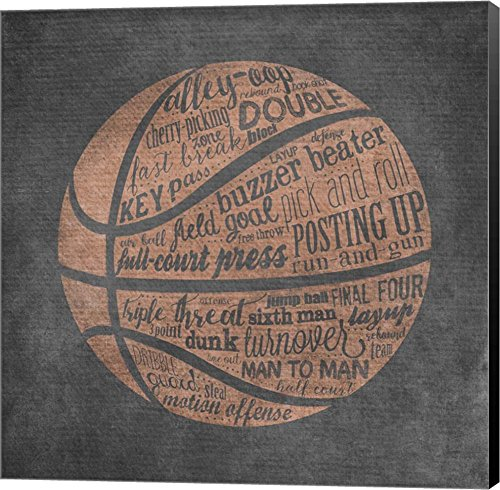 Basketball Terms by Longfellow Designs Canvas Art Wall Picture, Museum Wrapped with Black Sides