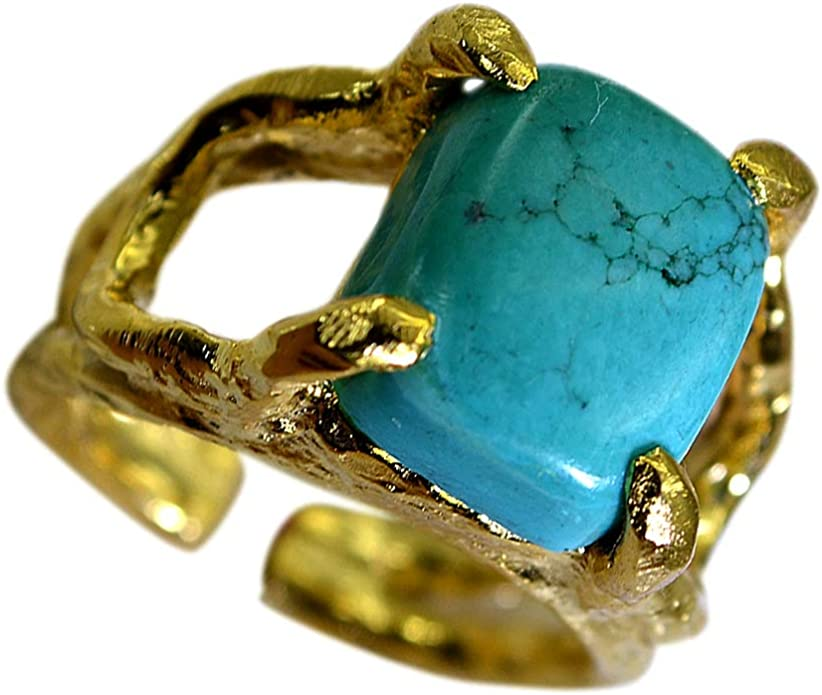 Women Jewelry Greek Jewelry Handmade Gift for her Genuine Turquoise Ring Rectangle 3 Stone Ring 925 Sterling Silver 18k Gold Bezel