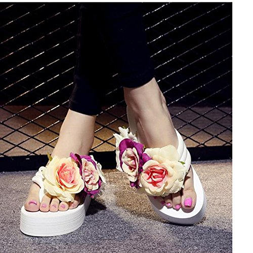 Scothen Mensaje del dedo del pie sandalias para la flor de zapatos de playa tirón de las mujeres fracasos zapatillas sandalias de deslizamiento de vacaciones de verano sandalias romanas sandalias White