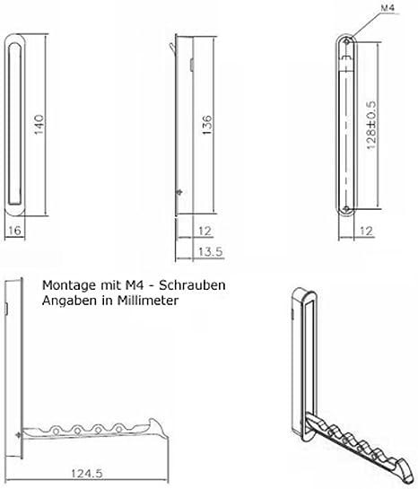 Gancho Moderno Plegable ZILLY Gancho de Admisi/ón 80 x 20 mm Distancia Agujero 66 mm de SO-TECH/®