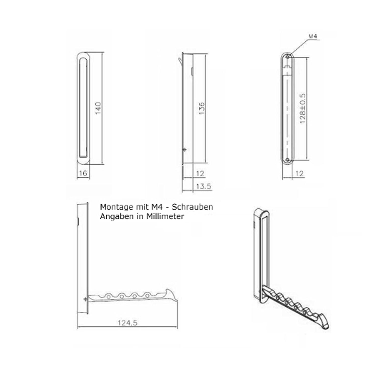 SO-TECH Moderner Klapphaken Garderobenhaken Kleiderl/üfter Zilly zum Einlassen 140 x 16 mm Chrom poliert