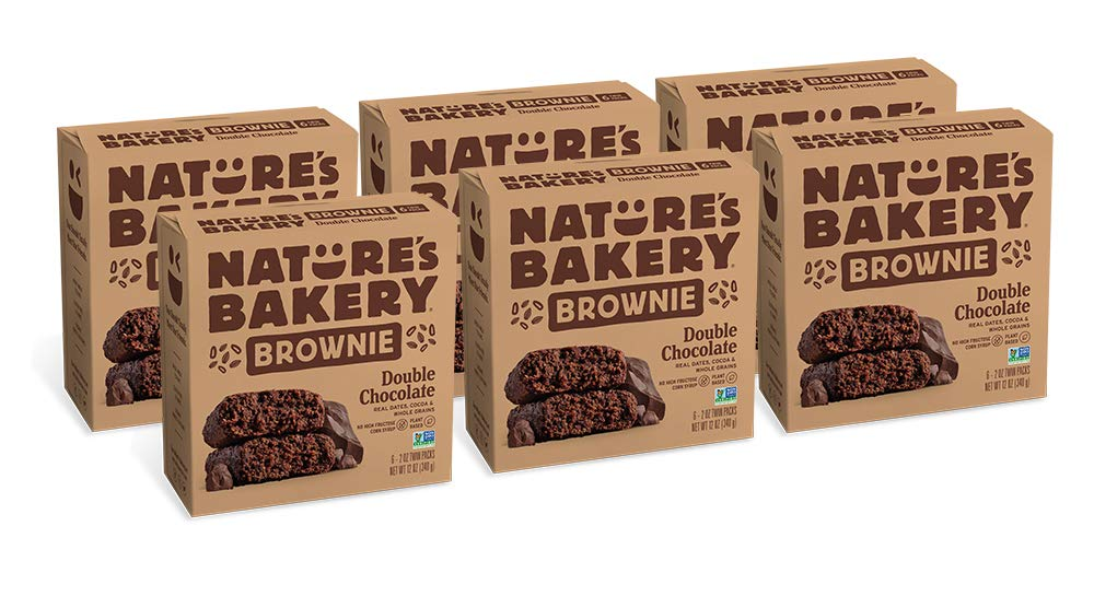 Nature's Bakery Vegan + non-GMO, Double Chocolate Brownie, Packaging May Vary - 6 Count (Pack of 6) by Nature's Bakery